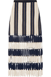 Striped crochet-knit midi skirt