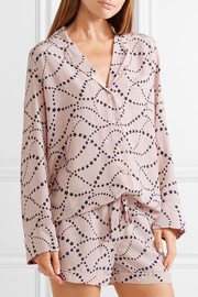 Lillian printed washed-silk pajama set