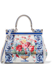 Dolce & Gabbana Sicily small printed textured-leather tote