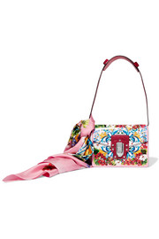 Dolce & Gabbana Lucia printed textured-leather and watersnake shoulder bag and silk-twill scarf set