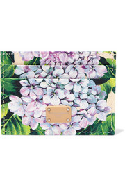 Dauphine floral-print textured-leather cardholder