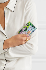Dolce & Gabbana Dauphine floral-print textured-leather cardholder