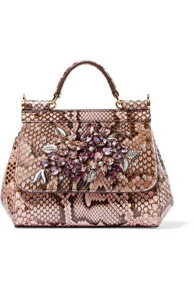 dad7a0a08b Dolce   Gabbana. Sicily mini embellished python tote