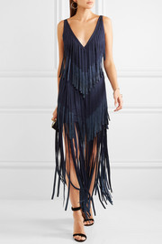 Hervé Léger Metallic fringed bandage midi dress