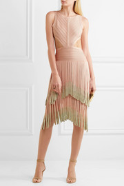 Hervé Léger Cutout dégradé fringed bandage dress
