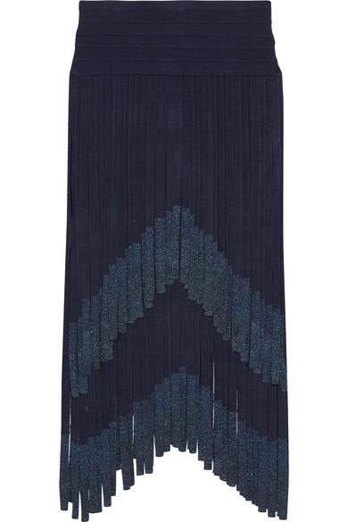 Hervé Léger - Metallic Fringed Bandage Midi Skirt - Storm blue