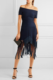 Metallic fringed bandage midi skirt