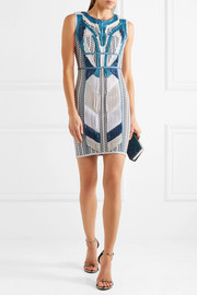 Hervé Léger Akira plissé chiffon-paneled intarsia stretch-knit mini dress