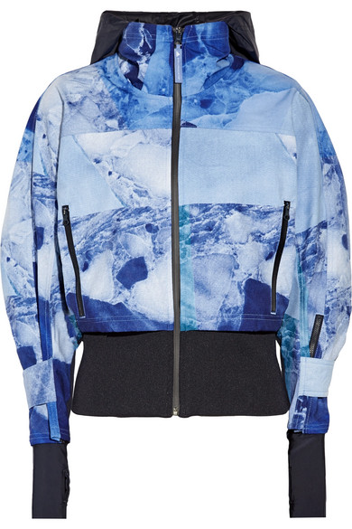 Climastorm Running Trail Stretch-Knit Paneled Printed Shell Jacket in Blue