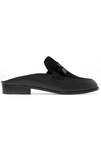 ALLAN SUEDE AND PATENT-PANELED LEATHER SLIPPERS