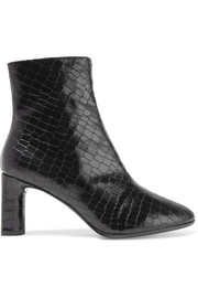 Elte snake-effect glossed-leather ankle boots