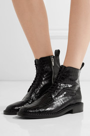 Robert Clergerie Jacenc glossed croc-effect leather boots