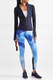 Adidas by Stella McCartney Climacool mesh-trimmed printed stretch leggings