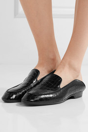 Robert Clergerie Fanin glossed croc-effect leather loafers