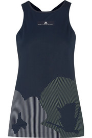 Adidas by Stella McCartney Mesh-paneled printed stretch-jersey tank