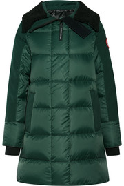 Altona shearling and leather-trimmed quilted shell parka