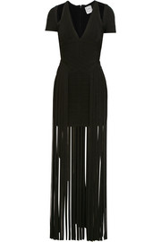 Hervé Léger Cutout fringed bandage maxi dress