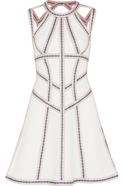 Hervé Léger Cutout embroidered stretch pointelle-knit mini dress
