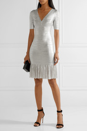 Hervé Léger Viviane metallic bandage and ribbed-knit dress