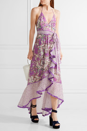 Ruffled printed cotton and silk-blend halterneck dress