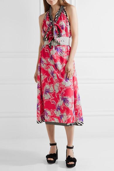c880dad101c Pussy-bow printed silk-satin midi dress