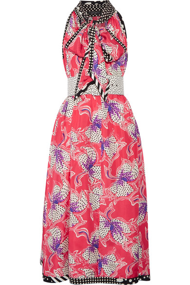 Marc Jacobs - Pussy-bow Printed Silk-satin Midi Dress - Bubblegum