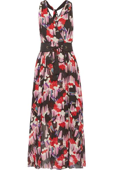 Marc Jacobs - Belted Printed Silk-georgette Wrap Dress - Black