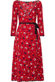 Floral-print silk-jacquard wrap dress