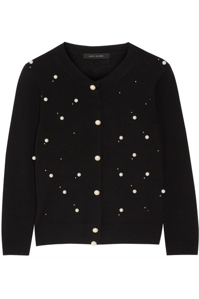 Marc Jacobs - Faux Pearl-embellished Merino Wool And Cashmere-blend Cardigan - Black