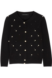 Marc Jacobs Faux pearl-embellished merino wool and cashmere-blend cardigan
