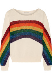 Metallic intarsia cotton sweater