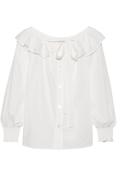 marc jacobs female marc jacobs ruffled cottonpoplin top white