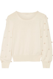 Marc Jacobs Faux pearl-embellished wool and cashmere-blend sweater
