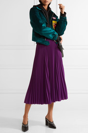 Pleated crepe de chine midi skirt
