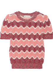 Striped open-knit wool-blend sweater