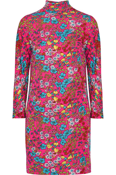 marc jacobs female marc jacobs floralprint stretchjersey turtleneck mini dress fuchsia
