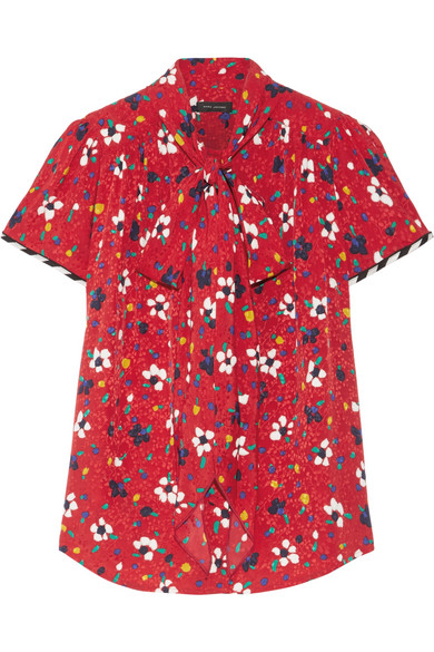 Marc Jacobs - Pussy-bow Floral-print Silk-jacquard Blouse - Red