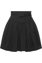Belted gathered stretch-cotton poplin mini skirt