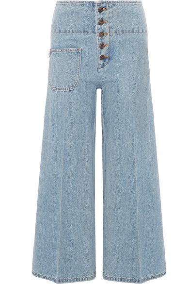 marc jacobs female marc jacobs cropped highrise wideleg jeans light blue