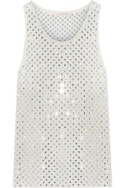 Crystal-embellished silk-georgette tank
