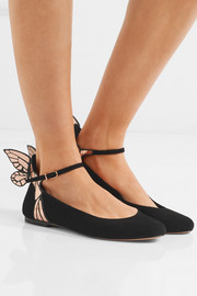 Sophia Webster Chiara metallic leather-trimmed suede ballet flats