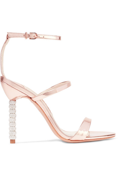 Rosalind Crystal-embellished Metallic Leather Sandals - Pink Sophia Webster fNvNO8pP