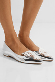 Sophia Webster Bibi Butterfly appliquéd metallic leather flats
