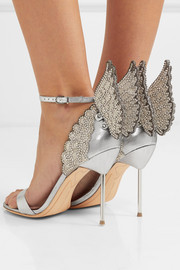 Sophia Webster Evangeline crystal-embellished lamé sandals