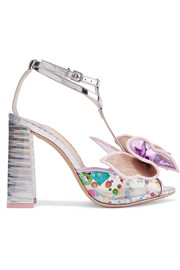 Lana embellished PVC and metallic leather sandals
