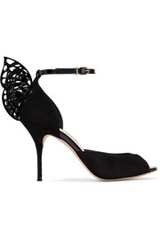 Sophia Webster Flutura patent leather-trimmed suede sandals