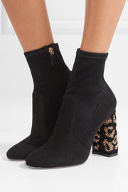 Felicity crystal-embellished suede ankle boots