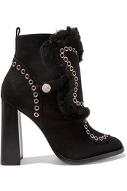 Karina faux shearling-trimmed embellished suede ankle boots