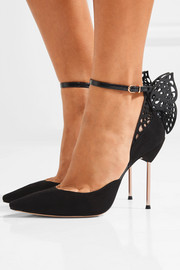 Sophia Webster Flutura patent leather-trimmed suede pumps