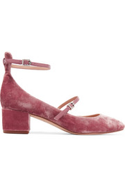 Lulie leather-trimmed velvet pumps